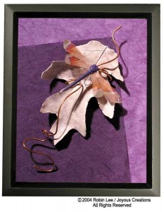 Shadowbox with purple leaf & dragonfly,mixed media