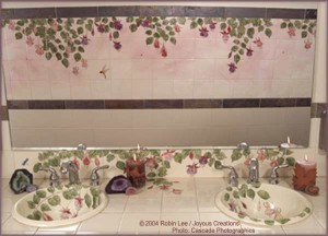 Hand painted tiles & sinks in commercial and public art